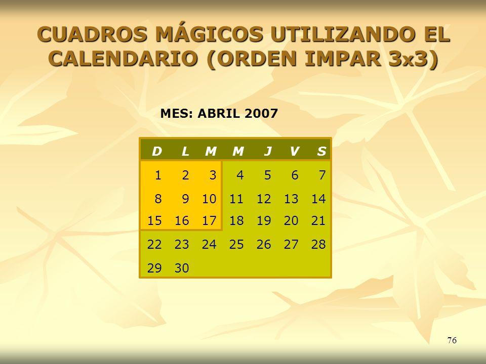 76 3029 28272625242322 21201918171615 141312111098 7654321 SVJMMLD MES: ABRIL 2007 CUADROS MÁGICOS UTILIZANDO EL CALENDARIO (ORDEN IMPAR 3 x 3)