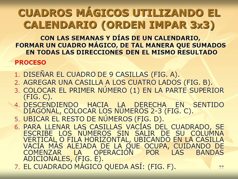 77 CUADROS MÁGICOS UTILIZANDO EL CALENDARIO (ORDEN IMPAR 3 x 3) 1. DISEÑAR EL CUADRO DE 9 CASILLAS (FIG. A). 2. AGREGAR UNA CASILLA A LOS CUATRO LADOS