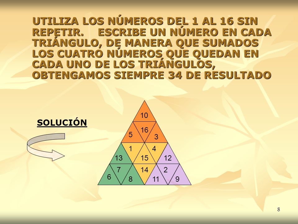 49 GANCHOS MENTALES SOLUCIÓN 1234 57 8 6 38 6170 83 3 70 2056 75 0 2 80 4392 0 0 2 54 X X + + 1 1 1