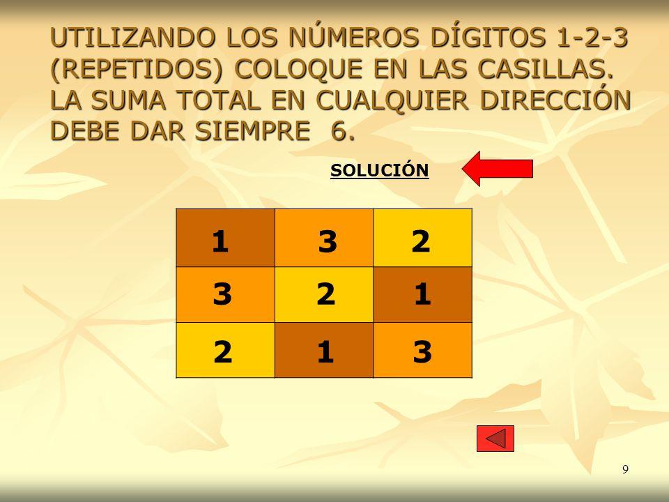 9 UTILIZANDO LOS NÚMEROS DÍGITOS 1-2-3 (REPETIDOS) COLOQUE EN LAS CASILLAS. LA SUMA TOTAL EN CUALQUIER DIRECCIÓN DEBE DAR SIEMPRE 6. 1 12 2 3 3 213 SO
