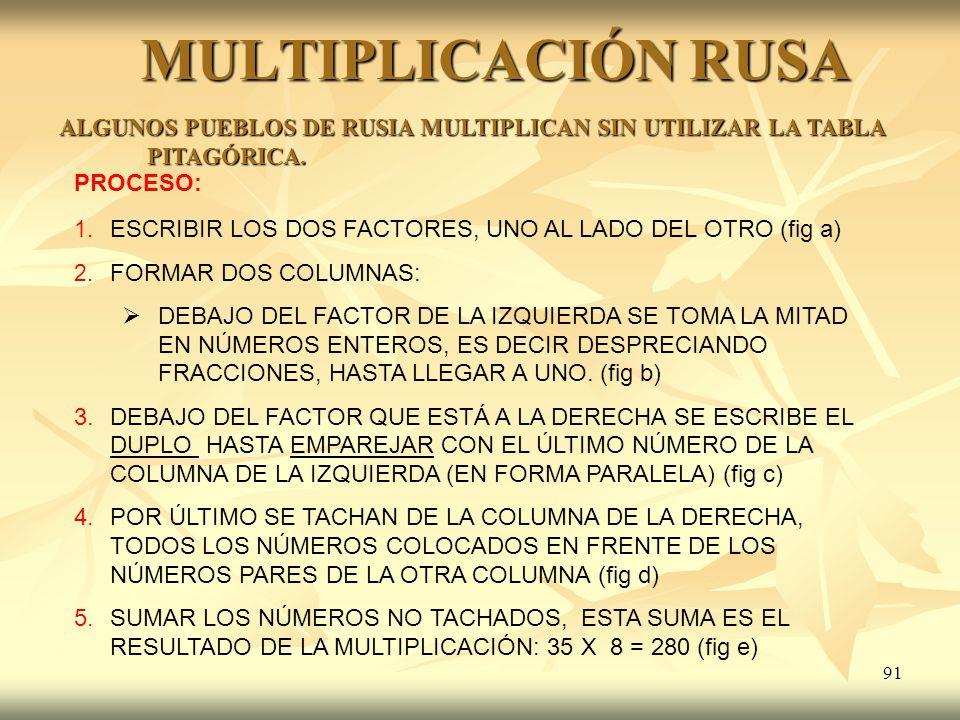 91 MULTIPLICACIÓN RUSA ALGUNOS PUEBLOS DE RUSIA MULTIPLICAN SIN UTILIZAR LA TABLA PITAGÓRICA. PROCESO: 1. ESCRIBIR LOS DOS FACTORES, UNO AL LADO DEL O