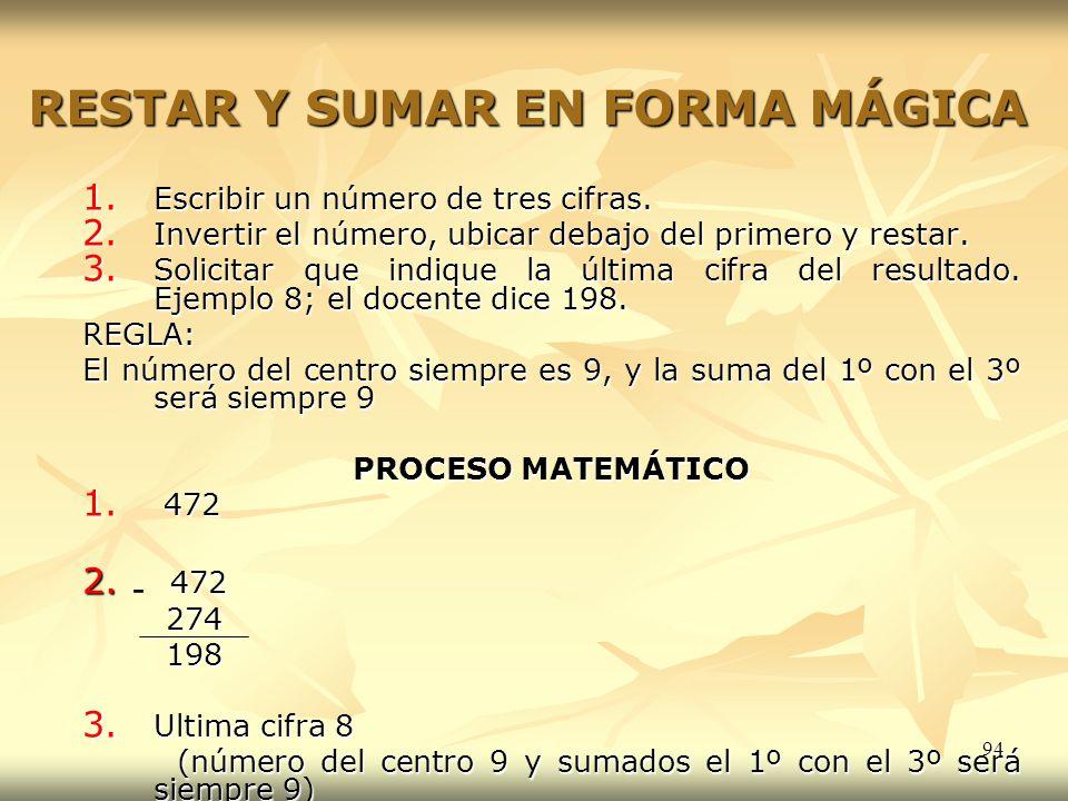 94 RESTAR Y SUMAR EN FORMA MÁGICA 1. Escribir un número de tres cifras. 2. Invertir el número, ubicar debajo del primero y restar. 3. Solicitar que in