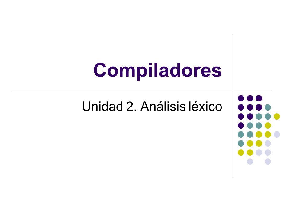 Contenido Funcionalidad del analizador léxico Visión general de LEX Especificación y reconocimiento de los símbolos de un lenguaje Diseño e implementación de un analizador léxico Formato del código fuente (LEX) Especificación de expresiones regulares (LEX) Funciones y variables proporcionadas (LEX) Especificación de las acciones léxicas (LEX) Manejo de especificaciones ambiguas (LEX) Especificación de la sensibilidad del contexto izquierdo (LEX) Control de errores léxicos