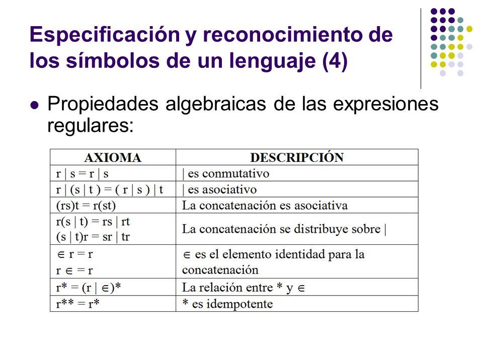 Especificación y reconocimiento de los símbolos de un lenguaje (4) Propiedades algebraicas de las expresiones regulares: