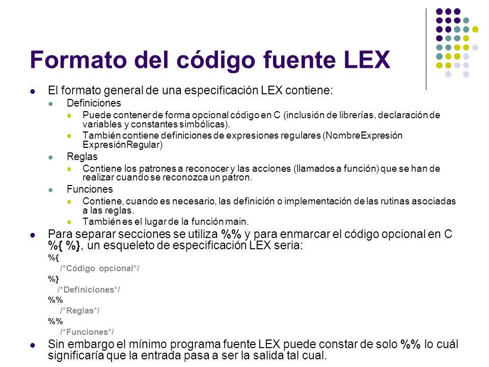 Formato del código fuente LEX El formato general de una especificación LEX contiene: Definiciones Puede contener de forma opcional código en C (inclus