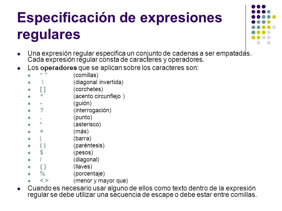 Especificación de expresiones regulares Una expresión regular especifica un conjunto de cadenas a ser empatadas. Cada expresión regular consta de cara