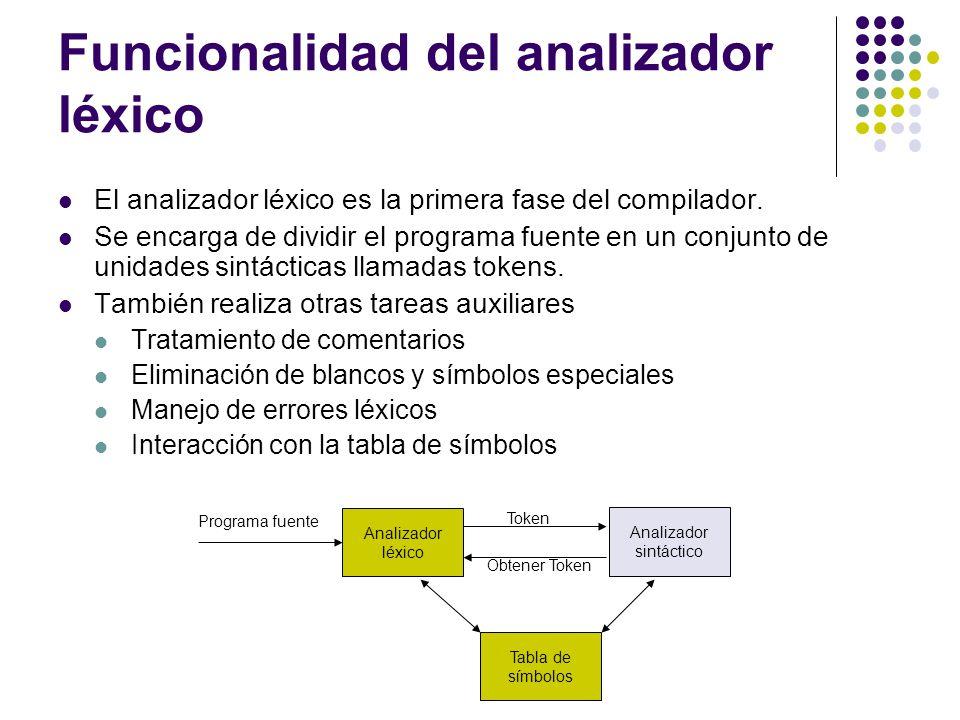 Formato del código fuente LEX El formato general de una especificación LEX contiene: Definiciones Puede contener de forma opcional código en C (inclusión de librerías, declaración de variables y constantes simbólicas).
