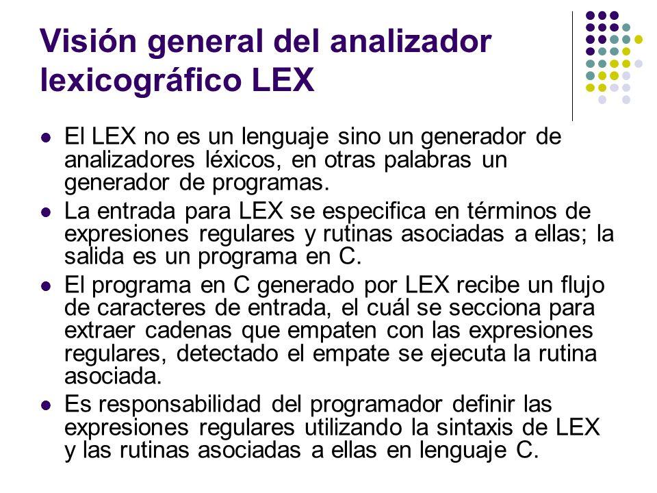 Visión general del analizador lexicográfico LEX (2) El LEX se puede utilizar en: Transformaciones sencillas Análisis estadístico a nivel léxico La fase de análisis léxico de un traductor (compilador o intérprete).