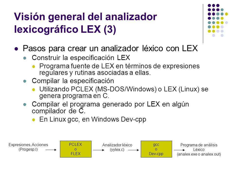 Visión general del analizador lexicográfico LEX (3) Pasos para crear un analizador léxico con LEX Construir la especificación LEX Programa fuente de L