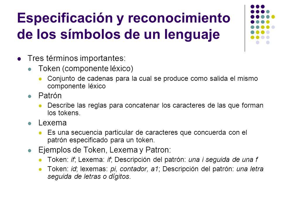 Especificación y reconocimiento de los símbolos de un lenguaje (2) Las expresiones regulares son una notación importante para especificar patrones.
