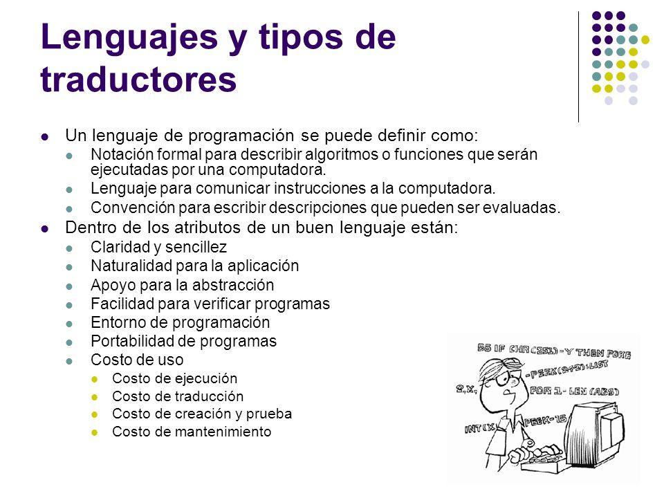 Lenguajes y tipos de traductores Un lenguaje de programación se puede definir como: Notación formal para describir algoritmos o funciones que serán ej