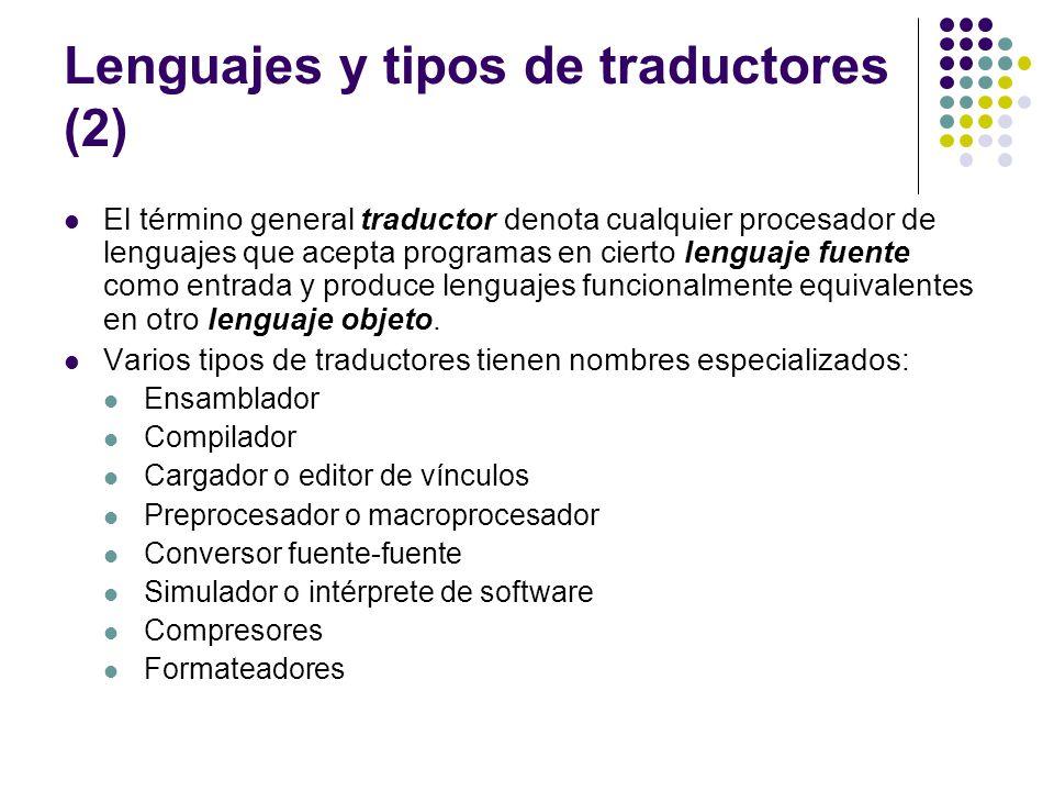 Lenguajes y tipos de traductores (2) El término general traductor denota cualquier procesador de lenguajes que acepta programas en cierto lenguaje fue