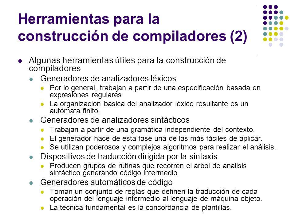 Herramientas para la construcción de compiladores (2) Algunas herramientas útiles para la construcción de compiladores Generadores de analizadores léx