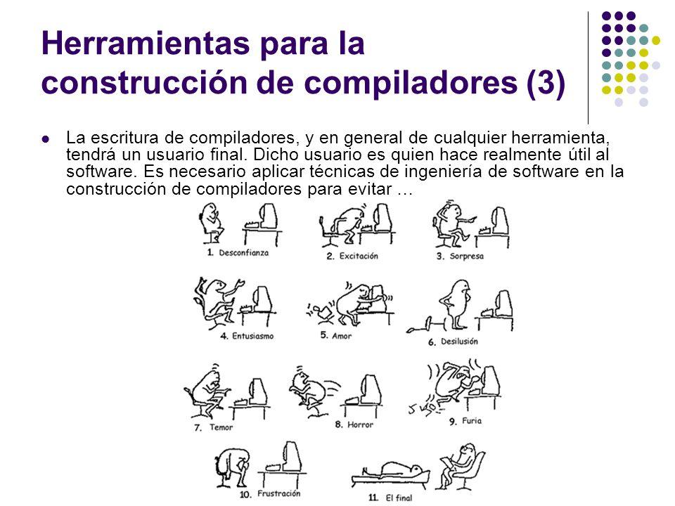 Herramientas para la construcción de compiladores (3) La escritura de compiladores, y en general de cualquier herramienta, tendrá un usuario final. Di