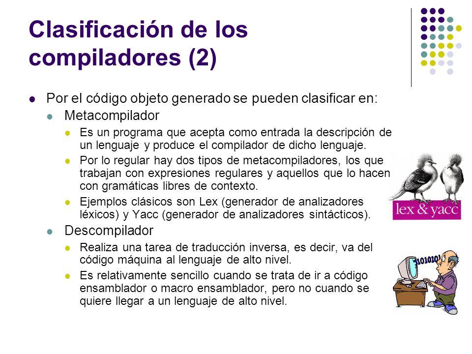 Clasificación de los compiladores (2) Por el código objeto generado se pueden clasificar en: Metacompilador Es un programa que acepta como entrada la