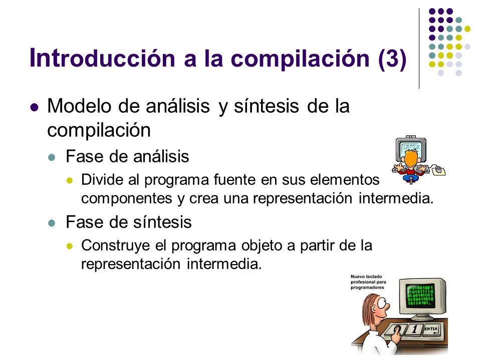 Int roducción a la compilación (3) Modelo de análisis y síntesis de la compilación Fase de análisis Divide al programa fuente en sus elementos compone