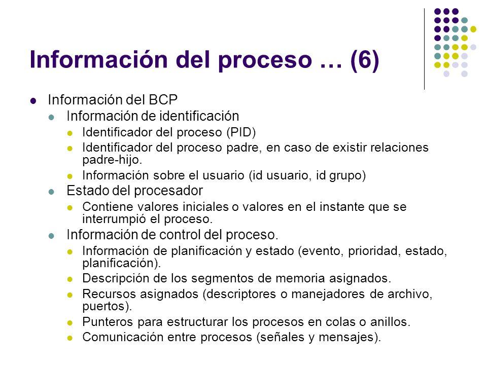 Información del proceso … (6) Información del BCP Información de identificación Identificador del proceso (PID) Identificador del proceso padre, en ca