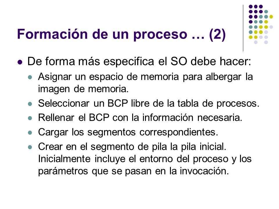 Formación de un proceso … (2) De forma más especifica el SO debe hacer: Asignar un espacio de memoria para albergar la imagen de memoria. Seleccionar