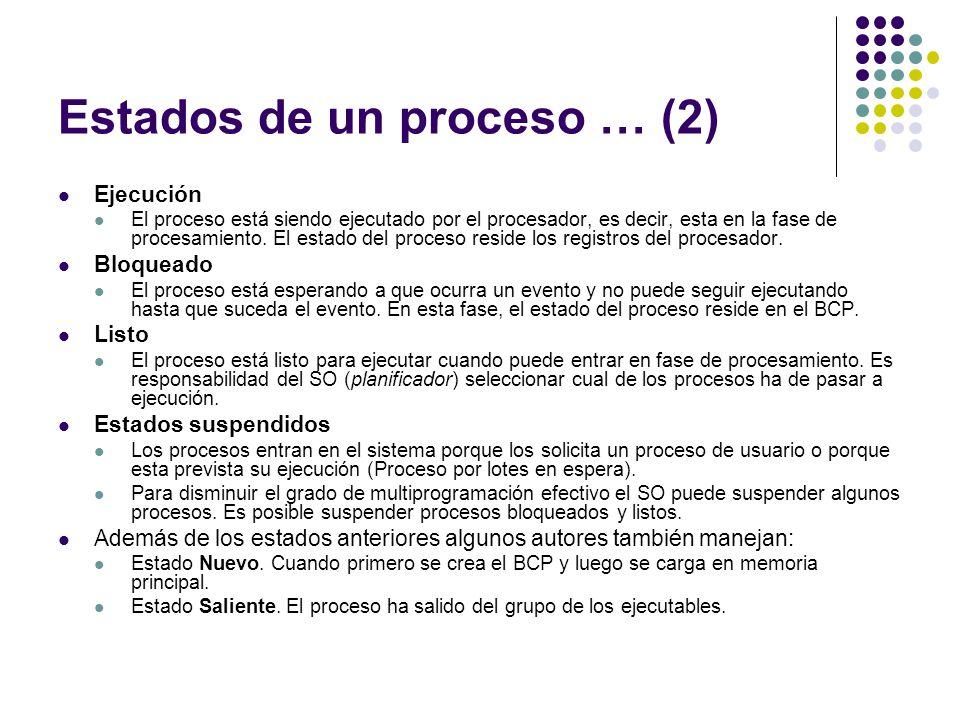 Estados de un proceso … (2) Ejecución El proceso está siendo ejecutado por el procesador, es decir, esta en la fase de procesamiento. El estado del pr