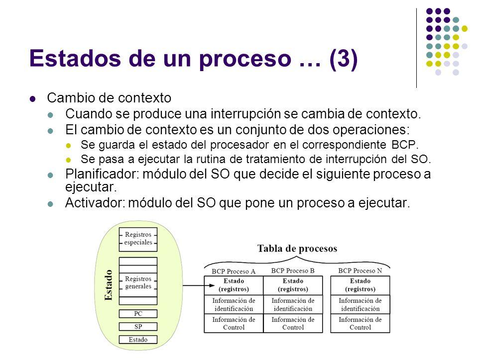 Estados de un proceso … (3) Cambio de contexto Cuando se produce una interrupción se cambia de contexto. El cambio de contexto es un conjunto de dos o