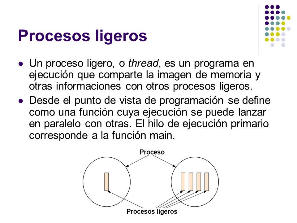 Procesos ligeros Un proceso ligero, o thread, es un programa en ejecución que comparte la imagen de memoria y otras informaciones con otros procesos l