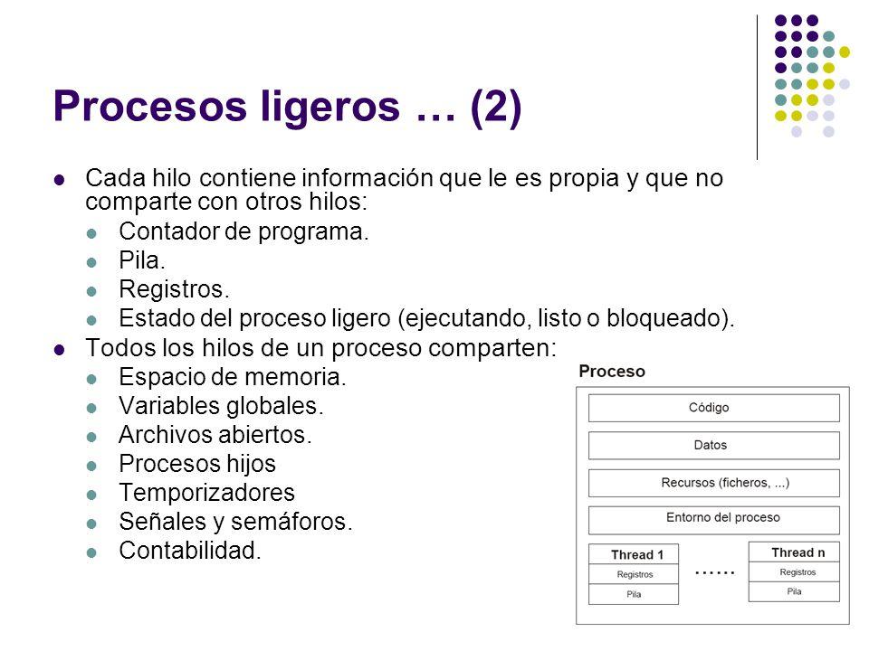 Procesos ligeros … (2) Cada hilo contiene información que le es propia y que no comparte con otros hilos: Contador de programa. Pila. Registros. Estad