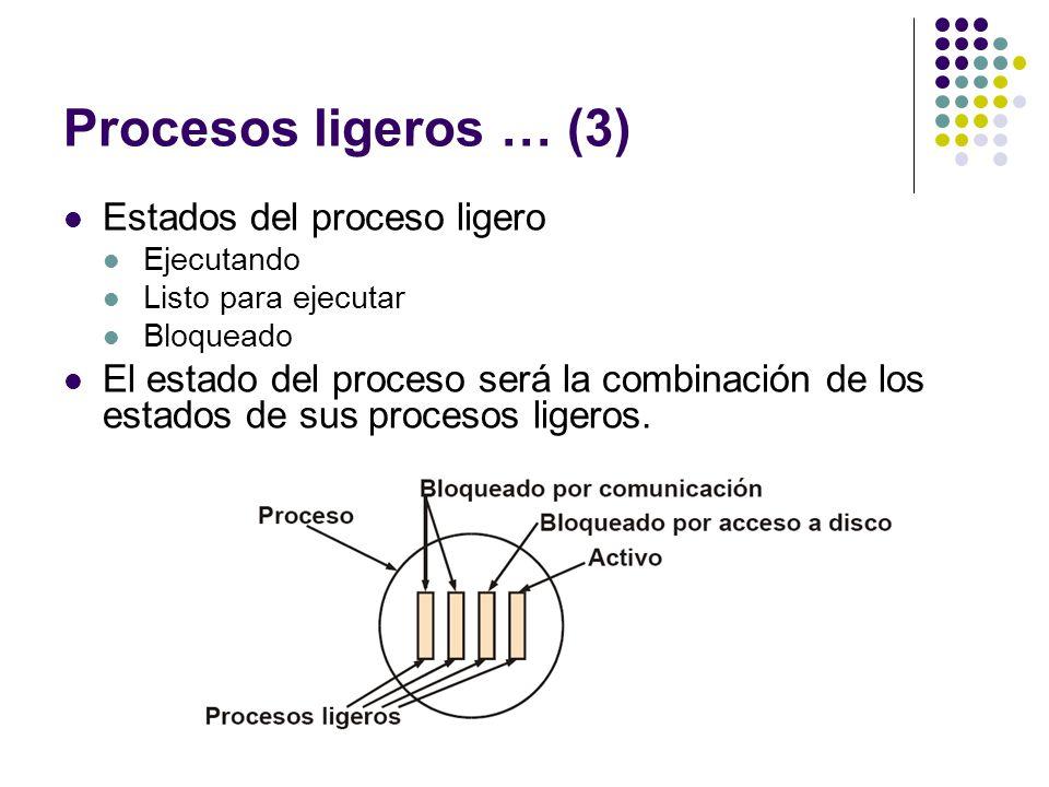 Procesos ligeros … (3) Estados del proceso ligero Ejecutando Listo para ejecutar Bloqueado El estado del proceso será la combinación de los estados de