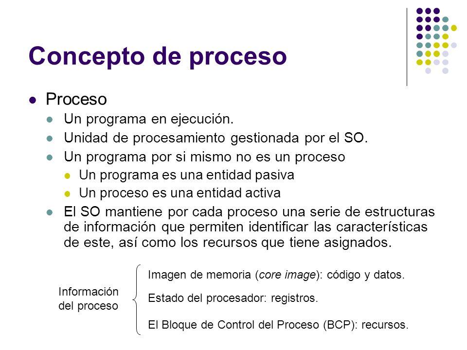 Concepto de proceso Proceso Un programa en ejecución. Unidad de procesamiento gestionada por el SO. Un programa por si mismo no es un proceso Un progr
