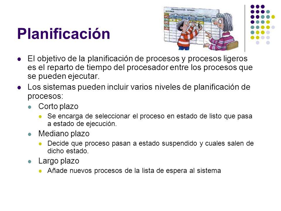 Planificación El objetivo de la planificación de procesos y procesos ligeros es el reparto de tiempo del procesador entre los procesos que se pueden e