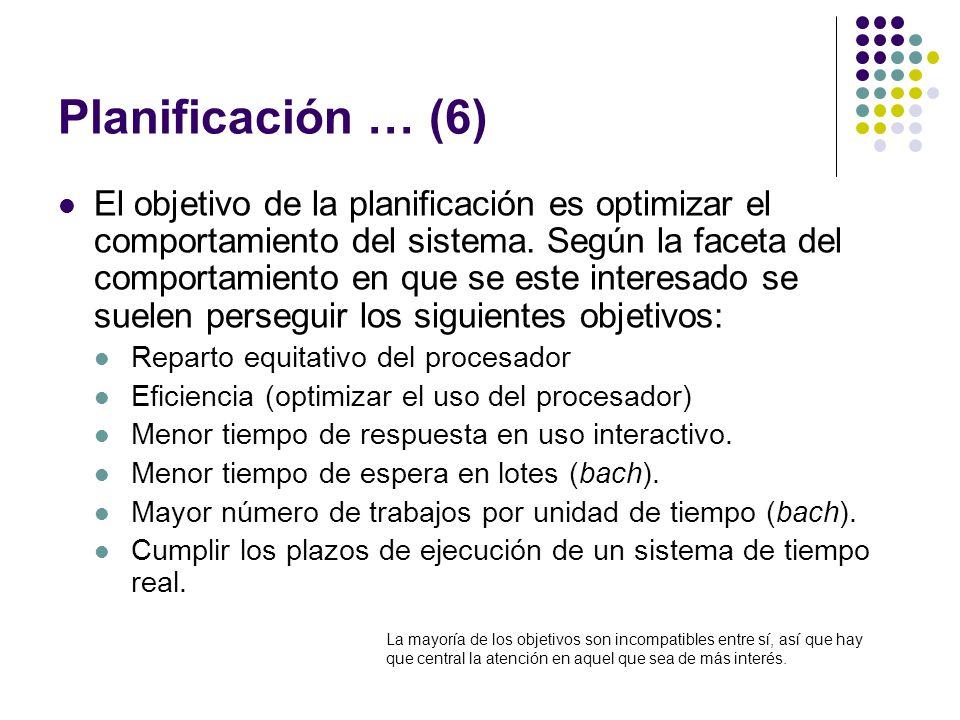 Planificación … (6) El objetivo de la planificación es optimizar el comportamiento del sistema. Según la faceta del comportamiento en que se este inte