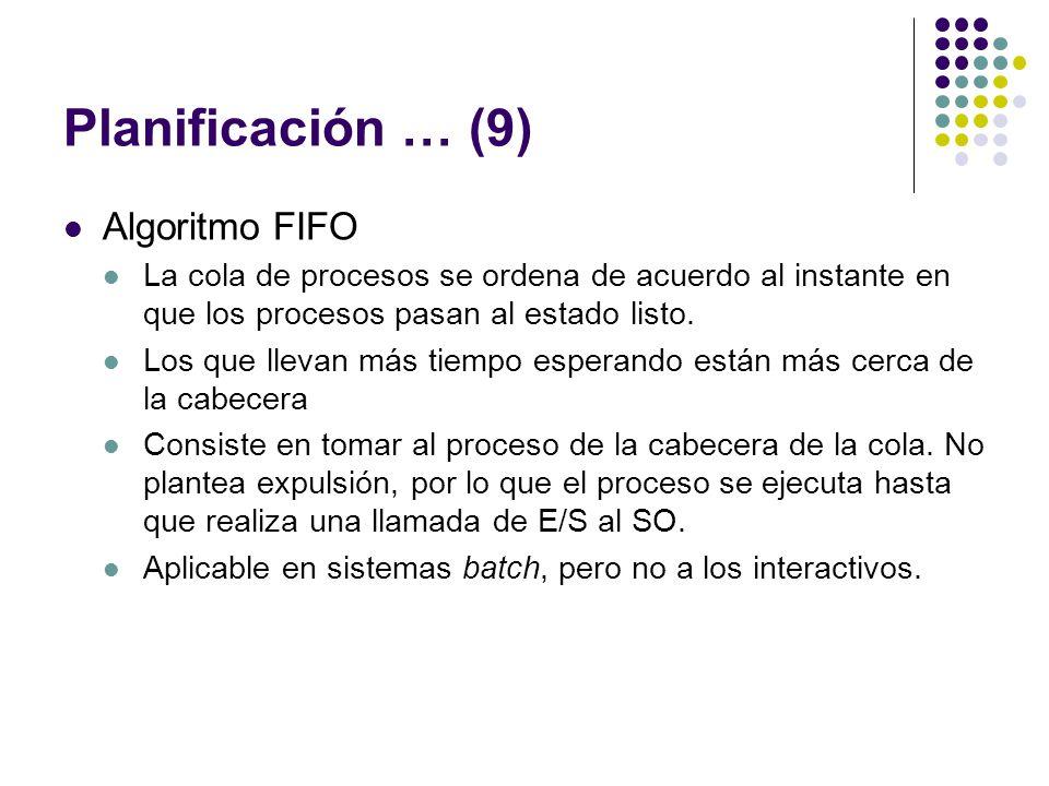 Planificación … (9) Algoritmo FIFO La cola de procesos se ordena de acuerdo al instante en que los procesos pasan al estado listo. Los que llevan más