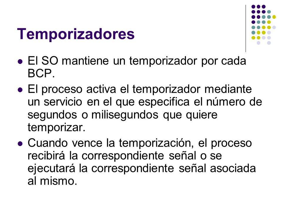 Temporizadores El SO mantiene un temporizador por cada BCP. El proceso activa el temporizador mediante un servicio en el que especifica el número de s