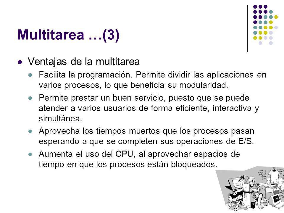Multitarea …(3) Ventajas de la multitarea Facilita la programación. Permite dividir las aplicaciones en varios procesos, lo que beneficia su modularid