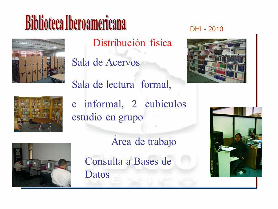 DHI - 2010 Distribución física Sala de Acervos Área de trabajo Sala de lectura formal, e informal, 2 cubículos estudio en grupo Consulta a Bases de Datos