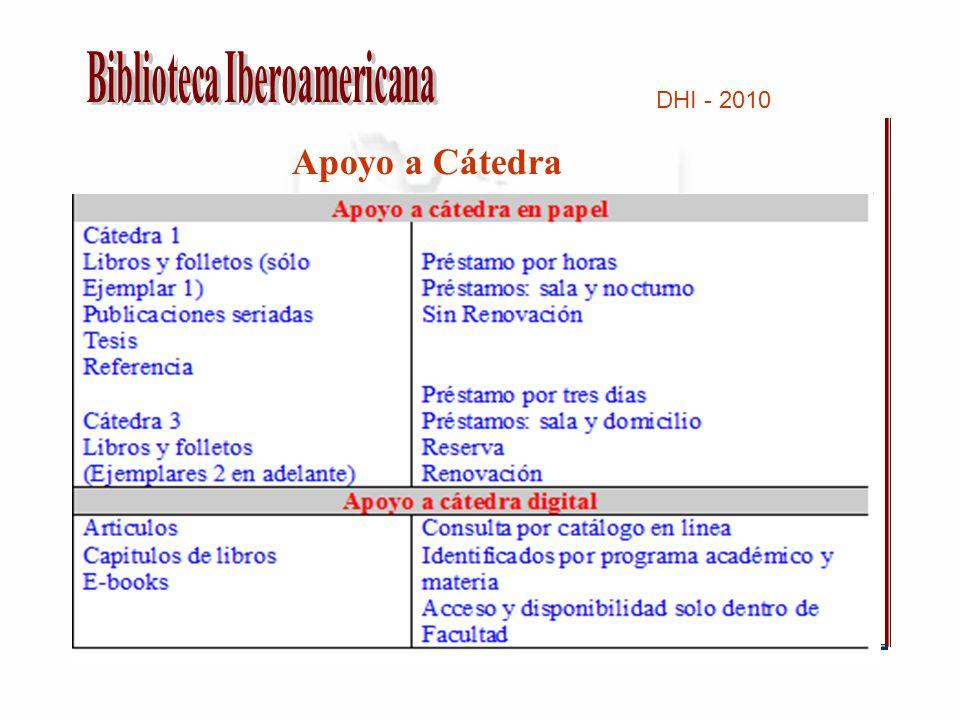 DHI - 2010 Apoyo a Cátedra