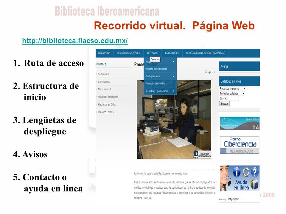 Recorrido virtual. Página Web http://biblioteca.flacso.edu.mx/ 1.Ruta de acceso 2.