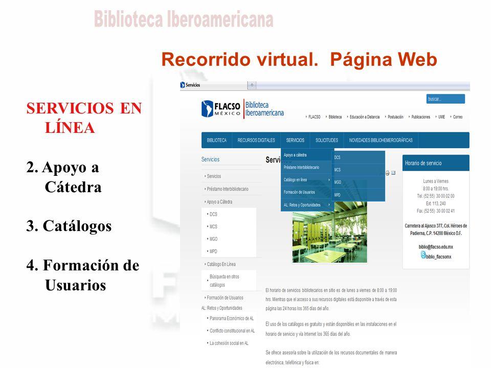 Recorrido virtual. Página Web SERVICIOS EN LÍNEA 2.