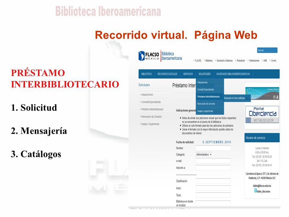 Recorrido virtual. Página Web PRÉSTAMO INTERBIBLIOTECARIO 1. Solicitud 2. Mensajería 3. Catálogos