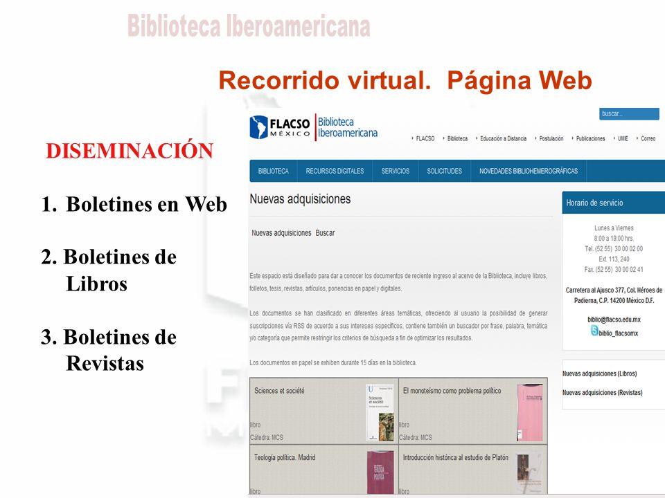Recorrido virtual. Página Web DISEMINACIÓN 1.Boletines en Web 2.