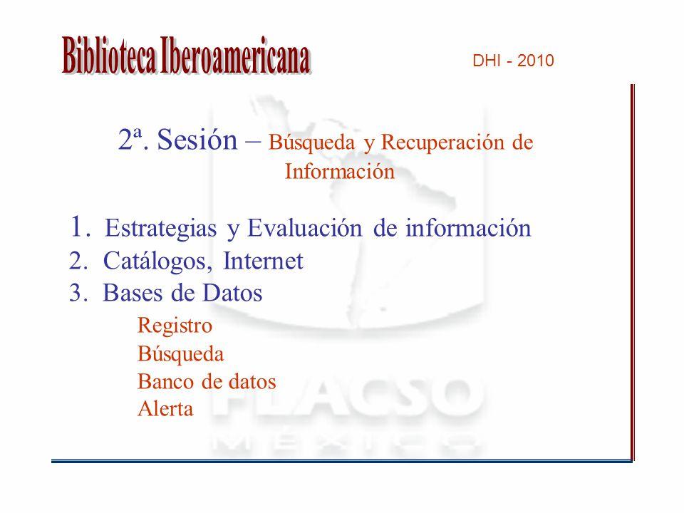 2ª. Sesión – Búsqueda y Recuperación de Información 1.