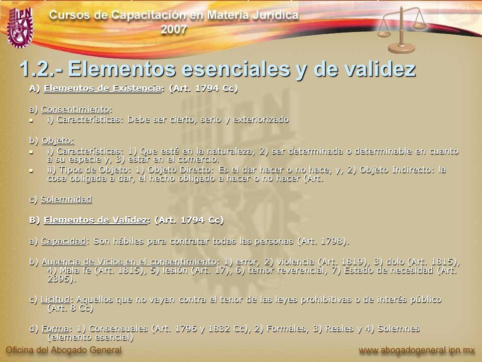 1.2.- Elementos esenciales y de validez A) Elementos de Existencia: (Art. 1794 Cc) a) Consentimiento: i) Características: Debe ser cierto, serio y ext