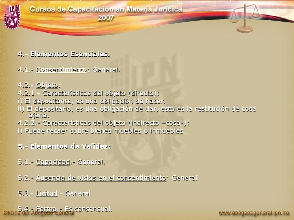 4.- Elementos Esenciales. 4.1.- Consentimiento: General. 4.2.- Objeto: 4.2.1.- Características del objeto (directo): i) El depositante, es una obligac