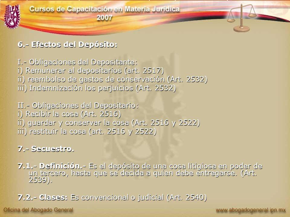 6.- Efectos del Depósito: I.- Obligaciones del Depositante: i) Remunerar al depositarios (art. 2517) ii) reembolso de gastos de conservación (Art. 253