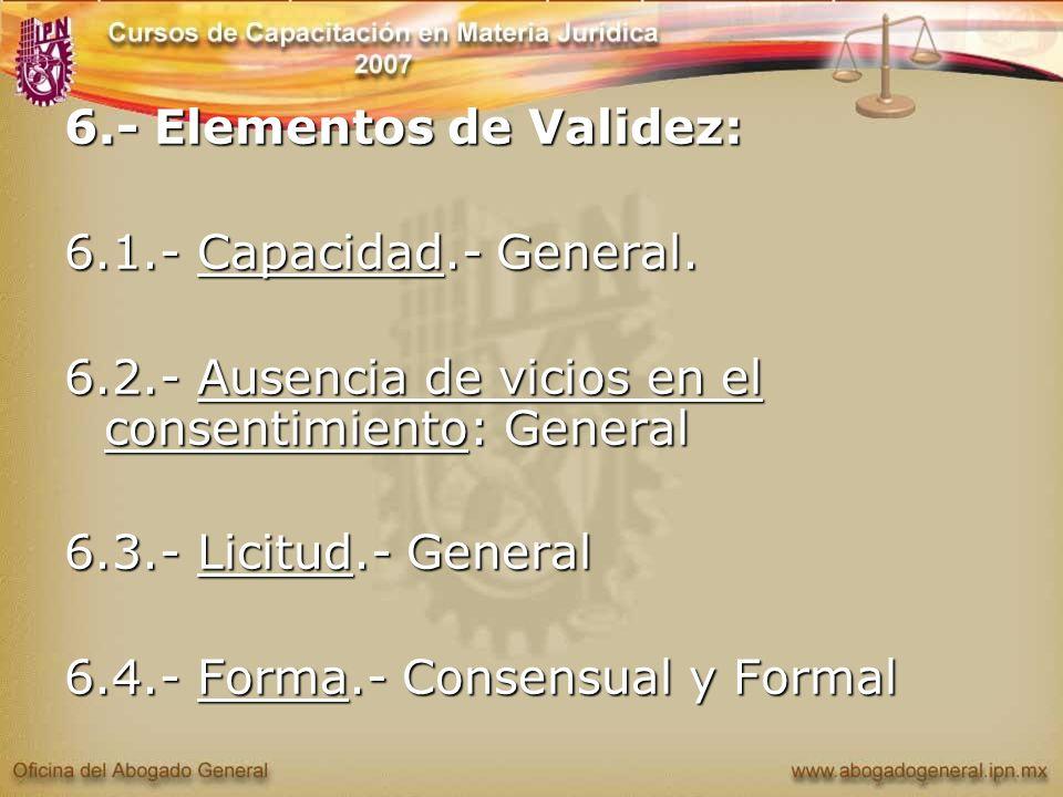 6.- Elementos de Validez: 6.1.- Capacidad.- General. 6.2.- Ausencia de vicios en el consentimiento: General 6.3.- Licitud.- General 6.4.- Forma.- Cons
