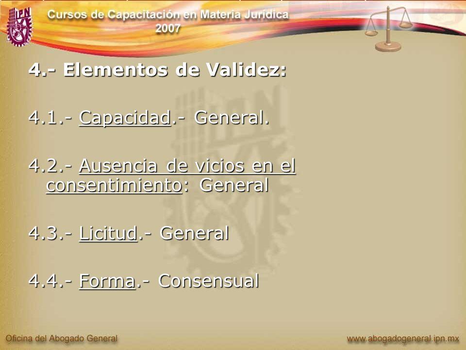 4.- Elementos de Validez: 4.1.- Capacidad.- General. 4.2.- Ausencia de vicios en el consentimiento: General 4.3.- Licitud.- General 4.4.- Forma.- Cons