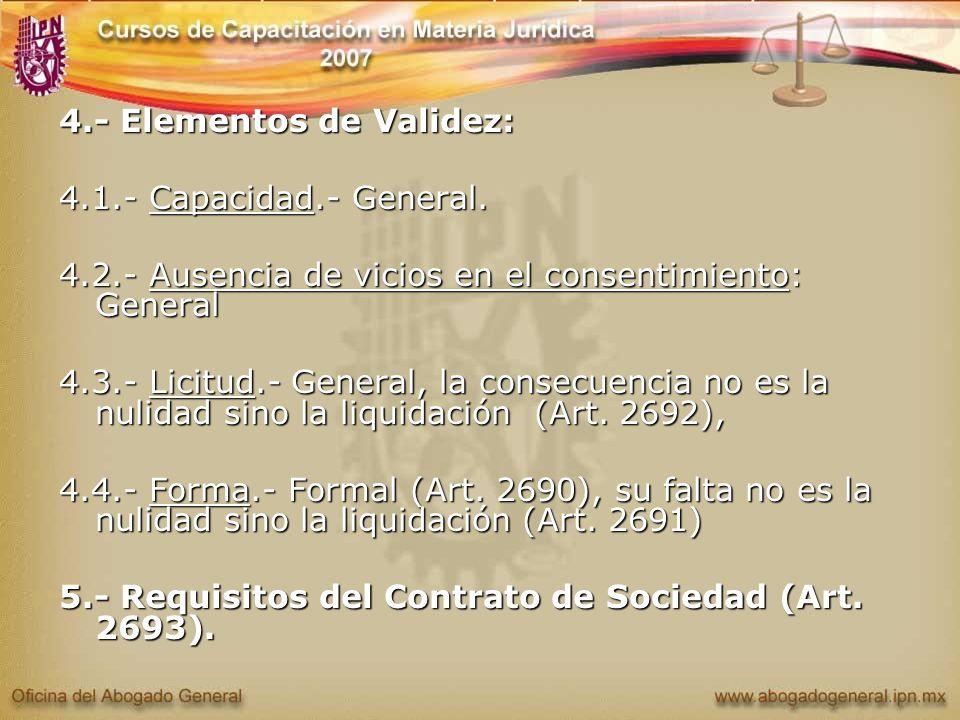 4.- Elementos de Validez: 4.1.- Capacidad.- General. 4.2.- Ausencia de vicios en el consentimiento: General 4.3.- Licitud.- General, la consecuencia n