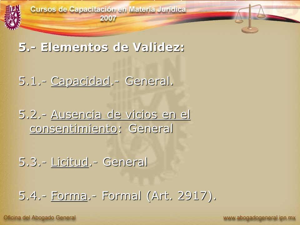 5.- Elementos de Validez: 5.1.- Capacidad.- General. 5.2.- Ausencia de vicios en el consentimiento: General 5.3.- Licitud.- General 5.4.- Forma.- Form