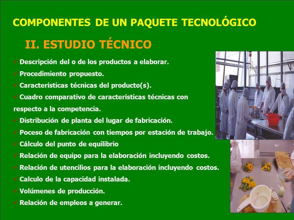 II. ESTUDIO TÉCNICO Descripción del o de los productos a elaborar. Procedimiento propuesto. Características técnicas del producto(s). Cuadro comparati