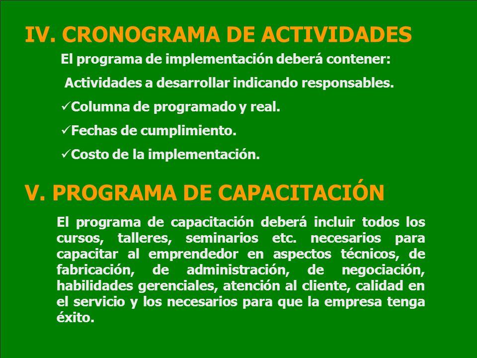 IV. CRONOGRAMA DE ACTIVIDADES El programa de implementación deberá contener: Actividades a desarrollar indicando responsables. Columna de programado y