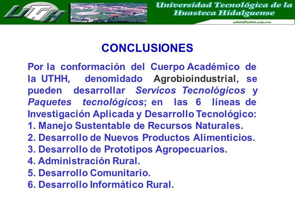 CONCLUSIONES Por la conformación del Cuerpo Académico de la UTHH, denomidado Agrobioindustrial, se pueden desarrollar Servicos Tecnológicos y Paquetes tecnológicos; en las 6 líneas de Investigación Aplicada y Desarrollo Tecnológico: 1.